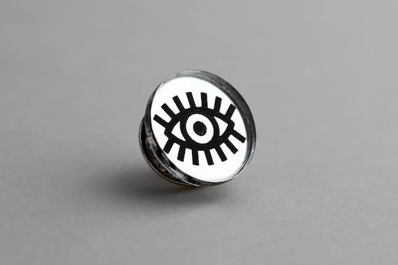 Eye pin - graphic round brooch - graphic accessory - not another enamel pin - lasercut acrylic mirror - black and silver