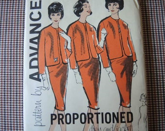 vintage 1960s Advance sewing pattern 9895 Misses proportioned dress and jacket size 14 UNCUT