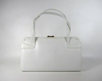 Vintage White Leather Kelly Bag 60s Mod Handbag White Purse 1960s Top Handle Bag White Leather Purse Vintage Leather Bag by Dofan of France