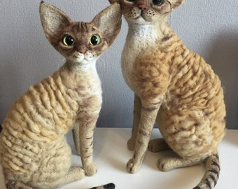 Personalized Pet Portrait / Shorthaired breed /Devon Rex/ Needle felted wool cat-doll