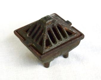 Vintage Vantines incense burner...cast iron Vantines incense burner...Art Deco censer...small tripod censer.
