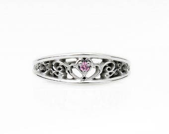 Pink sapphire heart filigree ring, white gold, rose gold, yellow gold, pink engagement ring, sapphire filigree, unique, heart rings, wedding