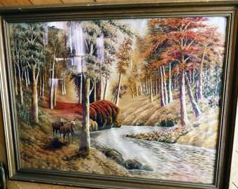 Vintage Hand Embroidered Art Fall Landscape Trees River Deer
