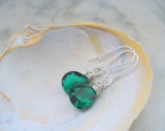 Emerald Green Teardrop Quartz Faceted Briolettes Earrings, Wire Wrapped, Gemstone, Jewelry, Birthday Gift, Saint Patrick's Day, Irish