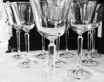 Set of 9 Lenox Classic Shell Crystal  Water Goblets