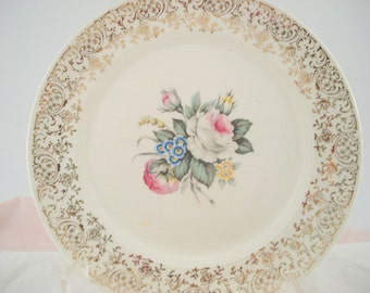 Vintage Wedding Dessert Plates Salem China Royal Rose Bouquet Pink Rose Set of 8 Bread Butter Plates Shabby Chic Vintage Bridal Shower