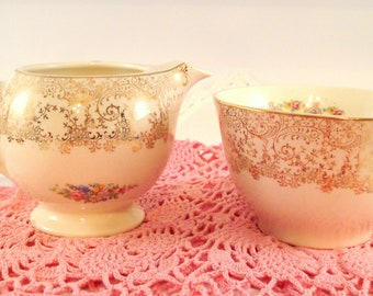 Vintage Sugar and Creamer Sebring China Liberty Gold Pattern  Shabby Cottage Chic Floral Milk and Sugar Vintage China