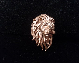 Crown Trifari Lion Head, Gold Tone Brooch, Figural