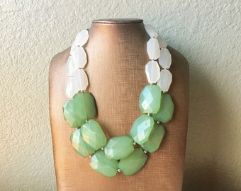 White & Mojito Green Statement Necklace - big Beaded Chunky Jewelry - Double Strand wedding or everyday dress, green necklace, green jewelry