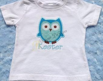 Applique Owl Shirt, Boys Birthday Shirt, Owl T-Shirt or Bodysuit, Boys Tops, Boys Appliqué Shirt, Animal Shirt