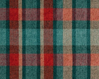 Teal Red Plaid Upholstery Fabric   Dark Teal Fabric For Furniture   Modern  Custom Red Plaid