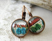 Little Tree Leverback Earrings, Vintage 1970 Postage Stamp Jewelry, Antique Copper, Nickel Free, Tree Hugger, Fall Style, Mothers Day Gift