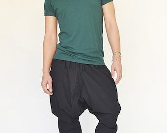 NO.207 Black Cotton Casual Harem Pants, Drop Crotch Drawstring Trousers, Unisex Pants