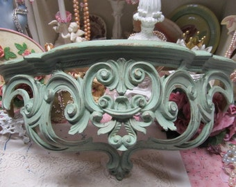 Shabby Chic Aqua/Teal Ornate WALL SHELF/Bed Crown, Hand Painted, Distressed, Made in Italy, Cottage Chic Decor, Romantic Home Decor
