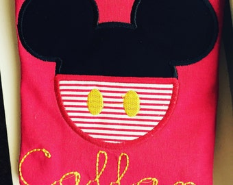 Mickey Mouse shirt, mickey applique, mickey monogram, Disney applique shirt, Mickey Mouse applique shirt, Mickey birthday shirt, Mickey tee
