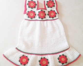 CHRISTMAS SALE! Heirloom Baby Dress Hand Crocheted Fits 12-18 months