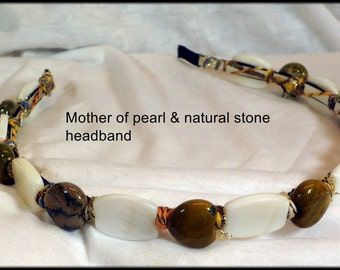 Metal headband with mother of pearl and natural stones