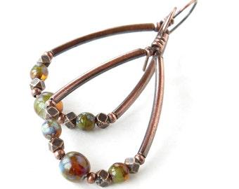 Copper teardrop hoops - Picasso Czech glass beads