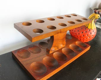 Beautiful solid wood vintage Mid Century Pipe Rack Holder holds 12 Smoking Pipes-Walnut by Fairfax,12 pipe rack ,Vintage wood 12 pipe holder