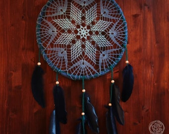Dream Catcher - Follow Your Star - Unique Dream Catcher with Handmade Crochet Web and Dark Blue Feathers - Bohemian Home Decoration