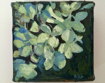 "Blue green Hydrangea , 4""x4"" Small, ORIGINAL, expressive oil painting by Maine artist Adrienne Kernan LaVallee, impasto"