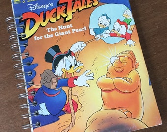Vintage Duck Tales The Hunt for the Giant Pearl Little Golden Book Recycled Journal Notebook