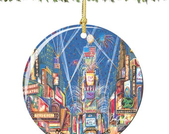 Chuck Fischer Times Square Christmas Ornament at New Years Porcelain Ornament