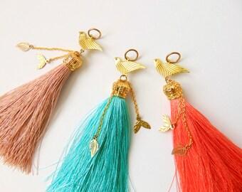 Tassel Bird Pendant, Silk Tassels, Jewelry Making Tassels, Handmade Tassels