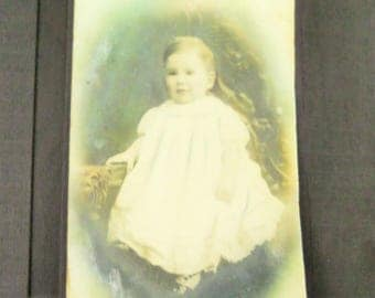 Vintage Child Baby Picture Photograph Antique  Hand Tinted.