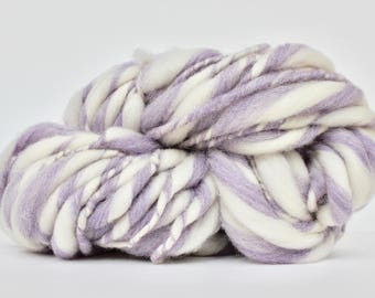 Thick and Thin Melange  Hand Spun  Super Bulky  Wool  TTY  Big Grape Heather / White  Color