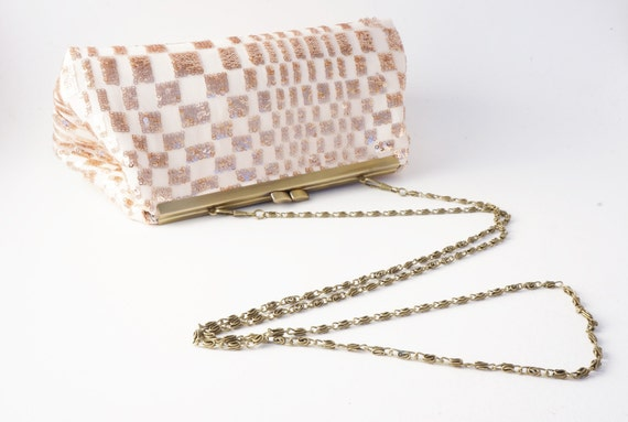Rose Gold & Ivory Shimmer Sequin Clutch Purse - Bridesmaid/Bridal/Evening/Wedding/Formal - Includes Crossbody Chain - Made to Order