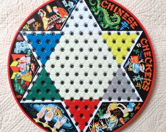 Vintage Metal Chinese Checkers Game Board, Great Graphics, NO Marbles, Steven Pixie Game, St. Louis, MO, 1990, Wall Decor, Childhood Game