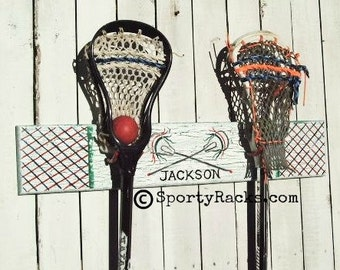 Sports Equipment Hanger Lacrosse Theme Wall Decor Lax Team Colors SportyRacks MTO Personalized Room Decor Wall Lacrosse Sign Stick Hanger