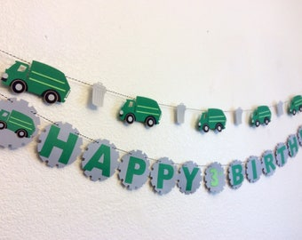 garbage truck banner, garbage truck Birthday, trash truck, garbage can, trash truck Birthday, boys party, garbage Garland, garbage cupcake