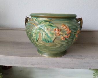 Vintage Roseville Pottery Bush Berrie Green Glazed Pottery Planter