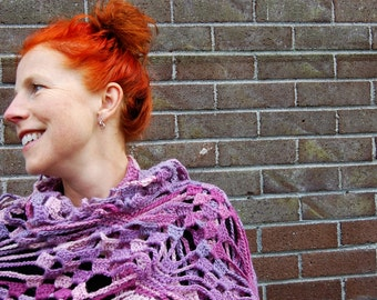 Shawl, gift, Christmas, wool, wrap, gift for her, shrug, triangle, wool, purple, scarf
