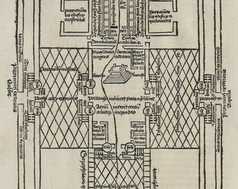 1497 Ancient INCUNABLE PRINT: Temple in Jerusalem. Holy Temple. Schedel. Liber cronicarum. Incunabula. Judaism. 520 years old engraving