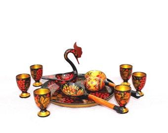 Khokhloma set Russian folk art Soviet vintage Khokhloma Wooden cups Wooden spoons Wooden bird Handpainted handmade wooden kitchen decor