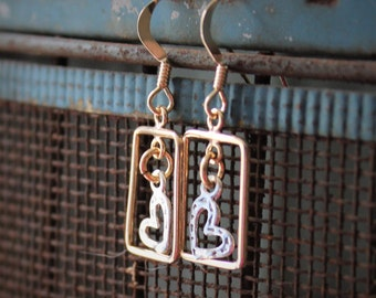 Elaine Earrings: Tiny sterling silver open heart charm dangle inside 14k gold filled rectangles