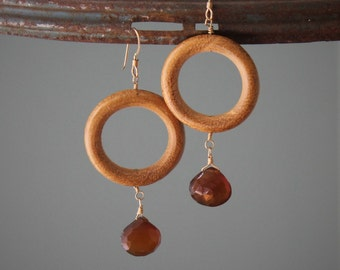 Meadow Earrings: Earthy blonde wood rings with cognac quartz dangles on 14k gold filled ear wire