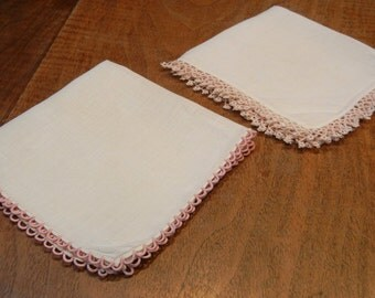2 tatted edged vintage handkerchiefs - lace hankies - wedding favors