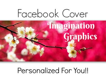Facebook Cover Photo, Pre-Made, White Spring Flowers, Facebook Cover Will Be Personalized Just For You! Cherry Blossom Branch