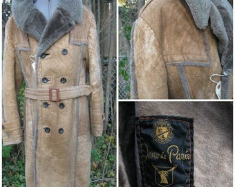 SALE 1970's Men's Sheepskin Mottled Golden,Trench double breasted SIZE Lable 40 Chest 46'' Made in Canada by Jeno De Paris. Winter Classic C