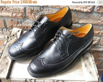 SALE Vintage NOS Dack's Hartt shoe, Black Prairie Oxhide, Brogue Long Wingtip, US Men 11.5, Goodyear welted, storm welt, leather soles shoes