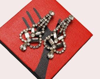 Rhinestone  Dangle earrings -Chandelier - silver tone  sclip on - Wedding BRide