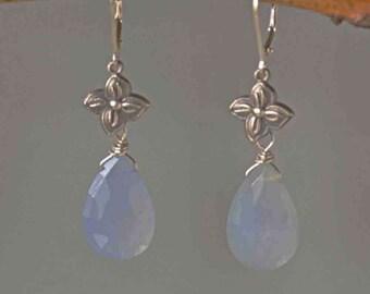 Blue Chalcedony Floral Earrings, Natural Chalcedony Dangle Earrings, Gift for Her, Holly Blue Gemstone Earrrings, Statement earrings