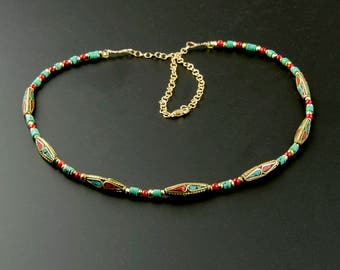 Tibetan Tribal Bead Necklace, Turquoise & Coral Necklace, Customizable Length Necklace, Gemstone Layering Necklace, 14K Gold Fill