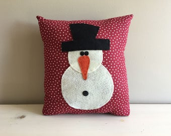 Handmade Snowman Winter Pillow