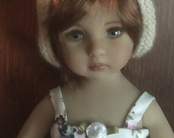 Cashmere white Bunny hat for Little Darling by Dianna Effner