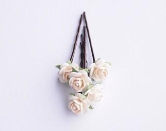 Cream Bridal Rose Hair Pin, Flower Bobby Pin Bridesmaid Flower Girl Set of 5